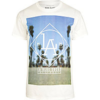 White LA Blue Socks print t-shirt
