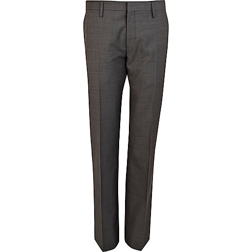 Grey classic fit smart suit trousers