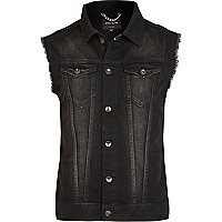 Black wash frayed sleeveless denim jacket