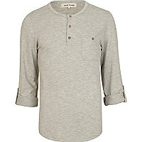 Grey roll sleeve grandad top