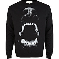 Black dog bite print sweatshirt