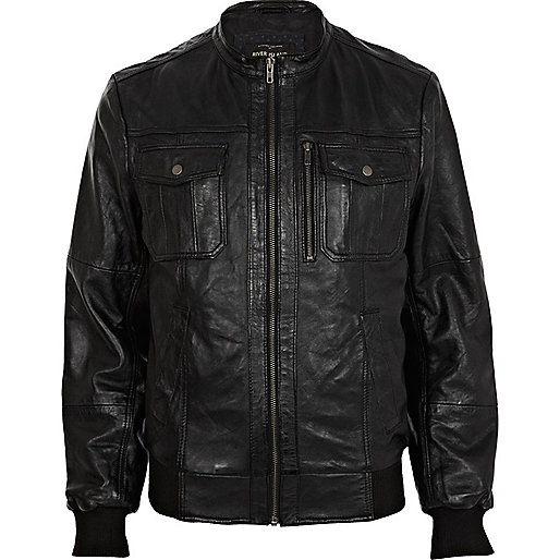 Black leather collarless utility jacket