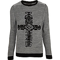 Black cross print textured crew neck jumper
