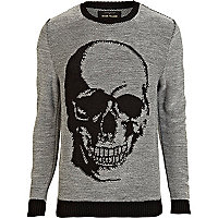 Black skull print crew neck jumper