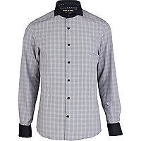 Navy large check cut away collar shirt