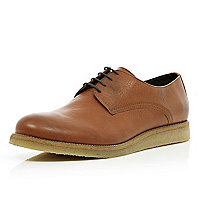 Brown lace up round toe shoes