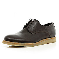 Dark brown lace up round toe shoes