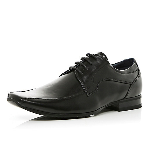 Black square toe lace up formal shoes