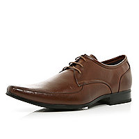 Brown square toe lace up formal shoes