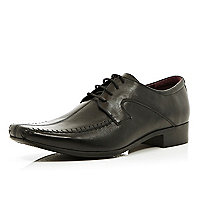 Black stitched panel square toe lace up shoes
