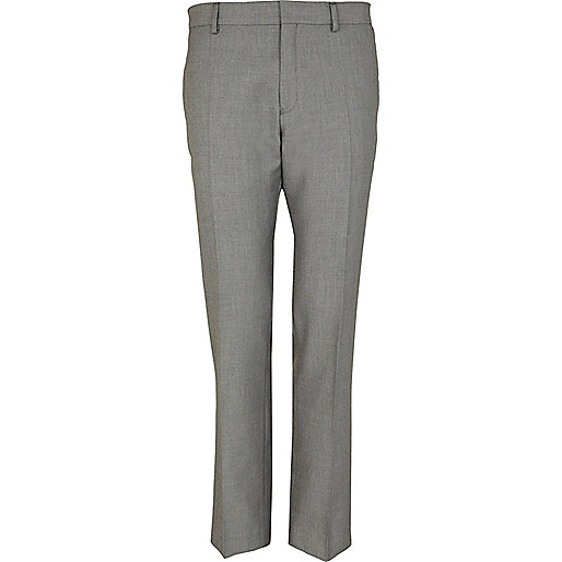 Grey contrast trim smart slim trousers