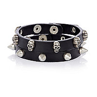 Black leather skull and stud bracelet pack