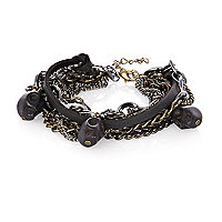 Grey mixed metal skull wrist chain