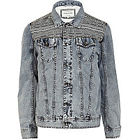 Blue aztec panel washed denim jacket