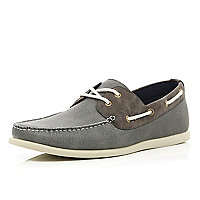 Grey contrast panel lace up boat shoes