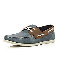 Blue contrast panel lace up boat shoes