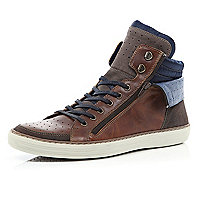 Brown zipped cuff lace up high tops