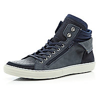 Navy zipped cuff lace up high tops
