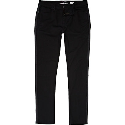 Black Sid stripe side skinny stretch jeans