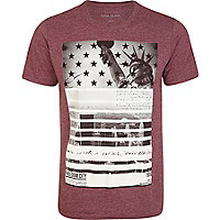 Red marl freedom city print t-shirt