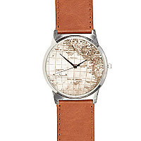 Brown globe print round watch