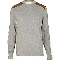 Grey marl shoulder patch sweatshirt