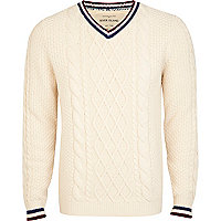 Ecru chunky cable knit cricket jumper