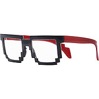 Black and red pixel edge glasses