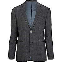 Blue check contrast trim smart blazer