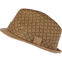 Brown diamond pattern woven trilby hat