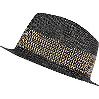Black woven straw contrast stripe trilby hat