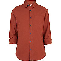 Rust brown patch pocket oxford shirt