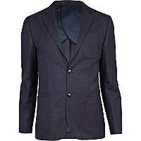 Dark blue denim pocket slim suit jacket