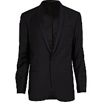 Navy blue classic fit suit jacket