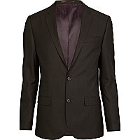 Brown double button slim suit jacket