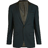 Dark green slim fit suit jacket