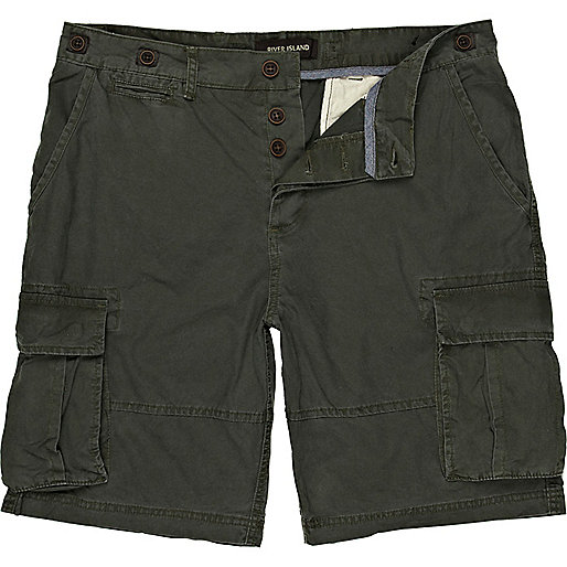 Green patch pocket cargo shorts