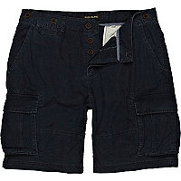 Navy patch pocket cargo shorts