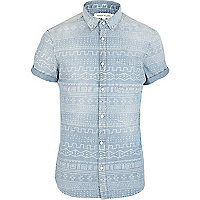 Light wash tribal print denim shirt