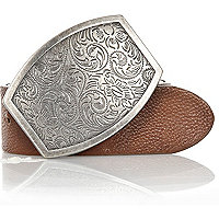 Brown paisley plate belt