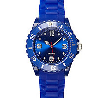 Blue plastic round watch