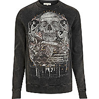 Grey acid wash skull print sweatshirt