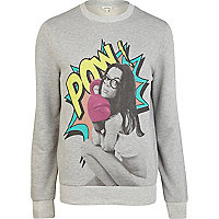 Grey pow girl print sweatshirt