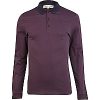 Purple contrast collar long sleeve polo shirt