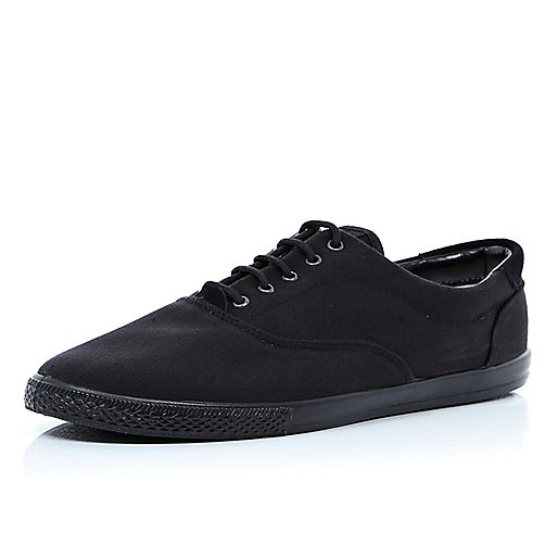 All black canvas lace up plimsolls