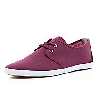 Dark red lace up plimsolls