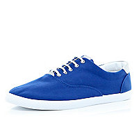 Blue canvas lace up plimsolls