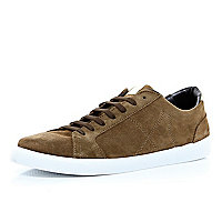 Brown suede retro lace up trainers