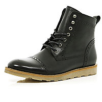 Black lace up brogue worker boots