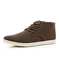 Brown canvas contrast panel mid tops